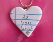 Notebook Jewelry- As You Wish/I love You/Polymer Clay/Handmade/Heart Necklace/Romance