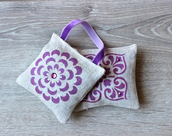 Set of 2 Lavender Sachets - Hand Painted French Lavender Pillows - Organic Lavender Drawer Sachets