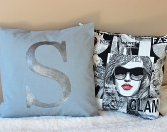 Monogram Pillow Cover 16 x 16 Initial Cushion Grey and Silver Decorative Pillow Modern Throw Pillow