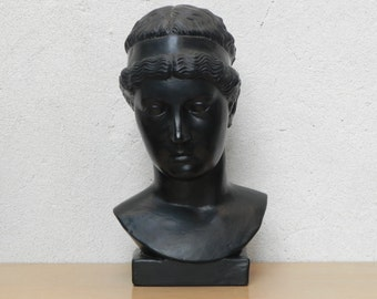 Classic Greek Female Bust in Black Ceramic