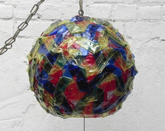 Spaghetti Ribbon Mod Multicolor Globe Hanging Lamp, Vintage Swag or Fixture Lamp