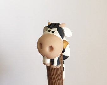 Polymer Clay Black and White Cow Ballpoint Pen