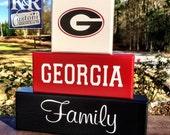 GA Georgia Bulldogs Dawgs UGA decor Family painted Blocks Decor sign Shelf Sitter