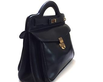 Vintage MARK CROSS Black Leather Tote Bag Handbag Purse Attache with 2 Keys