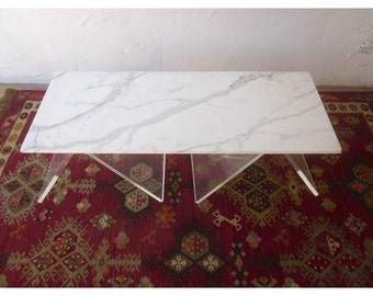 Italian Lucite & Marble Coffee Table Made in Italy Lucite base