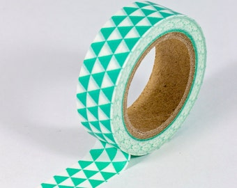 Washi Tape - White with Green Triangles