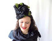 Vintage Hat in Woven Straw Flower Pot Style with Extra Large Roses in Black