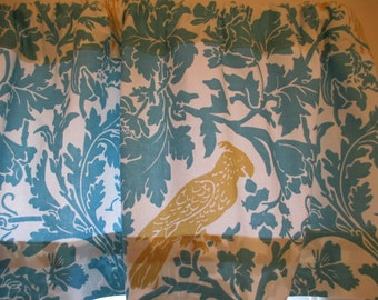 NEW  Window Curtain Valance Premier Prints BARBER BIRD Aqua Great for Kitchens-Dining Rooms-Bedrooms