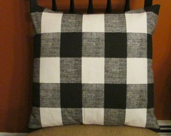 SALE Black Check Pillow, Toss Pillow, Black Buffalo Check Pillow Cover, Euro Pillow, Sham, Lumbar,Throw Pillow,Bedding,Various Sizes