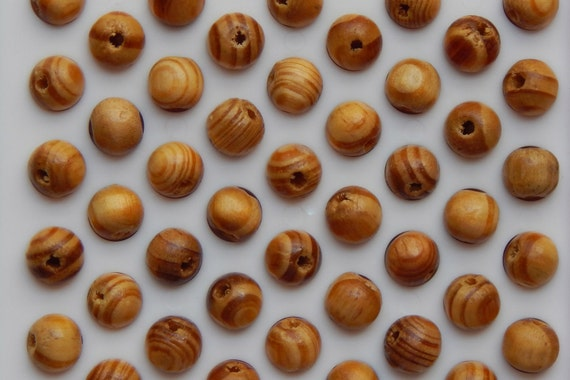 50 Pieces of Wood Beads - 8mm Round Shape, Burley Wood Style, Light Brown Color With Darker Stripes, Medium, Lightly Finished, 2mm Hole Size