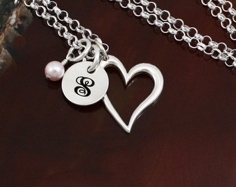 It's Love - Sterling Silver Heart Necklace - Initial Necklace