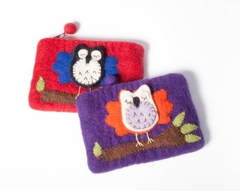Sleeping Owl Felt Coin Purse