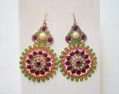 Gorgeous Goldtone Purple/Green Enamel Dangle Earrings