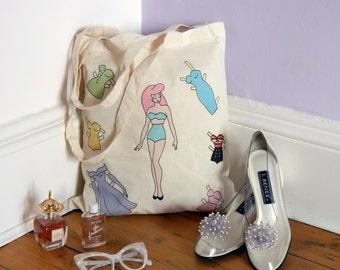 Vintage Paper Doll Tote Bag