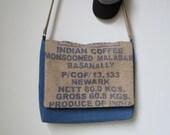Messenger Bag Upcycled Coffee Sack Unisex Laptop Bag Handmade in USA