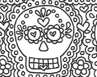 Day of the dead printable unlined sugar skull stationery page