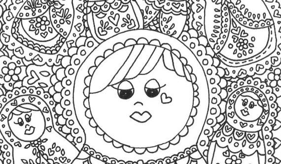 babushka coloring pages | Matryoshka Babushka printable adult coloring page by ...