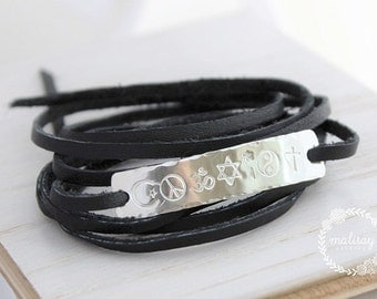 coexist wrap bracelet - hand stamped sterling silver - leather wrap bracelet, star of David, peace sign, ohm, cross bracelet