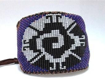 Beaded Mayan Galactic Butterfly on Leather Cuff, Bracelet for Men, Mandala, Cobalt Blue, Crystal Fuchsia, Bronze, Custom Fit