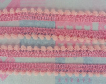 Baby Pink Mini PomPom Fringe Trim Lace DIY Craft Jewelry Making Embellishments Supplies 36 yards