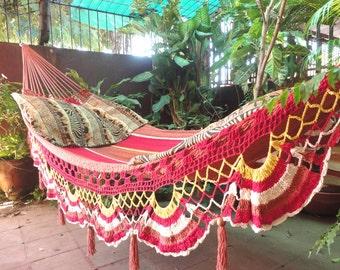 Multicolor Terracota Double Hammock hand-woven Natural Cotton Special Fringe