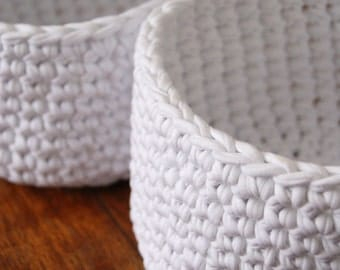 Crochet Basket, White crochet basket pair, stacking crochet storage, nesting storage baskets, crochet storage bowls