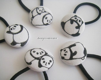 Handmade baby, toddler, girls covered button Ponytail holder(Panda) - your choice