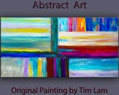 "Wall Art abstract painting Original Texture huge Impasto brushwork oil painting on gallery wrap linen canvas Home Decor by Tim Lam 48"" x 24"""