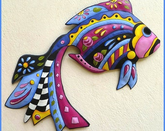 Tropical Fish Wall Hanging, Painted Metal Art, Tropical Decor, Outdoor Metal Art, Metal Wall Decor, Patio Decor, Garden Decor - J-451-BL24