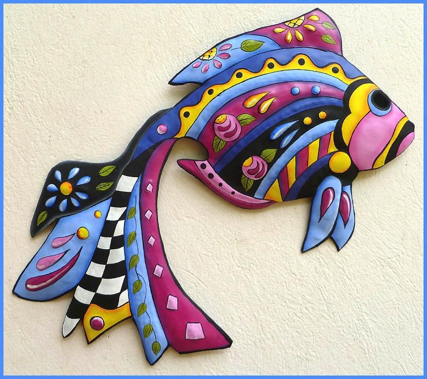 Metal Wall Art Tropical Fish Wall Hanging Hand Painted
