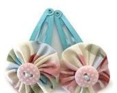 Floral Fabric Yoyo Hair Clips with Polka Dot Button
