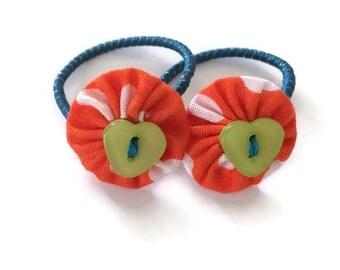 Mini Fall/Autumn Orange Halloween Fabric Yoyo Hair Ties