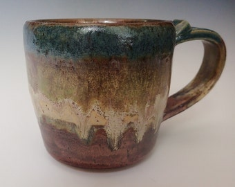 Handmade Stoneware Clay Coffee Mug with Beautiful Blue, Green and Copper Glaze
