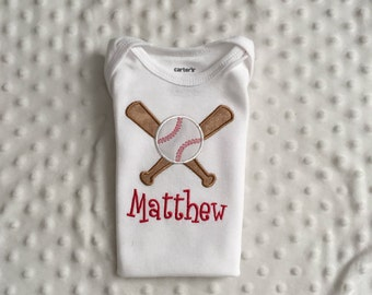 Baby Boy   Personalized Bodysuit,  Baseball Theme