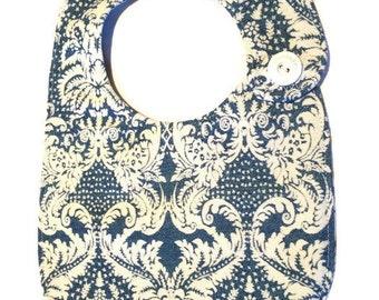Blue white print bib