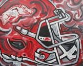 24x30 Officialy Licensed University of Arkansas Painting by Justin Patten #2014039 Art College Baseball Football Basketball Woo Pig Sooie
