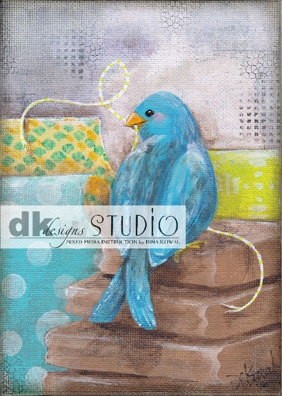 "She Stamps -  5""x 7"" print - bird in craft  supplies"