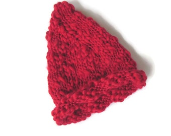 Red Baby Pointy Elf Hat - Newborn Hat - Baby Photo Prop
