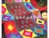 Vintage Crochet Pattern Indian India Afghan Granny Squares 1970s Digital Download PDF