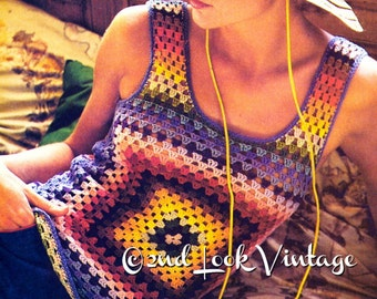 Vintage 1970s Granny Squares Tank Top Sexy Boho Pullover Vest Crochet Pattern Digital Download PDF