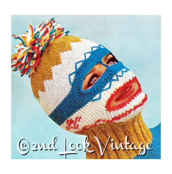 Balaclava Knitting Pattern Straight Needles : Vintage Knitting Pattern 1960s Ski Mask Balaclava Dickey
