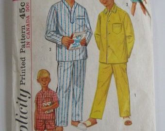 Vintage 1960s Simplicity Pattern 1434 Boys Pajamas in Two Lengths Size 8 Chest 26 Waist 23 Cut & Complete
