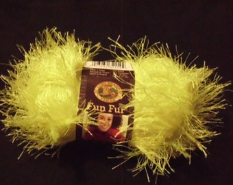 Lion Brand Fun Fur  Yarn  Color =   Neon Lemon    SALE