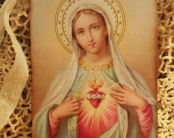 6 - 5x3.5 Blessed Virgin Mary Vintage Holy Card Inspired Christmas Gift Tags