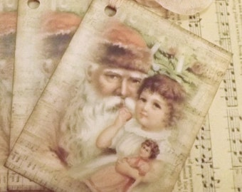 8 Vintage Santa And Child Christmas Tags Ornament Music French Shabby Boho Tattered