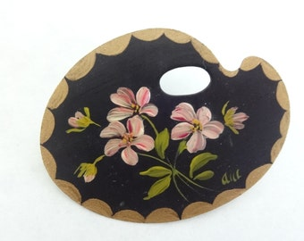 Pink Flower Palette Brooch with Tole Painting