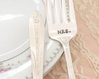 """Mr. & Mrs. vintage wedding bride and groom """"princess royal"""" forks, hand stamped"""