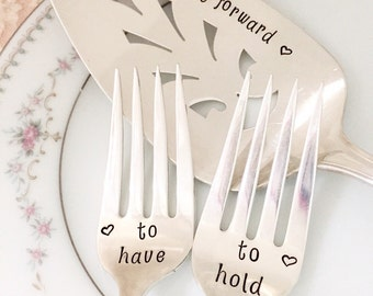 "Mr. & Mrs. Forks and cake server set vintage wedding ""precious mirror"" forks, hand stamped personalized"
