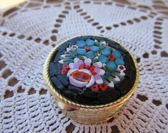 Vintage Micro Mosaic Pill Box Goldplate Made in Italy