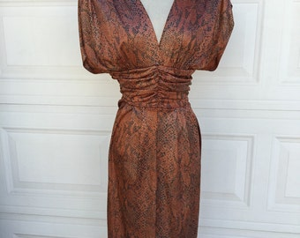1980s bronze metallic ruched draped tulip skirt sexy low cut open back dress size S